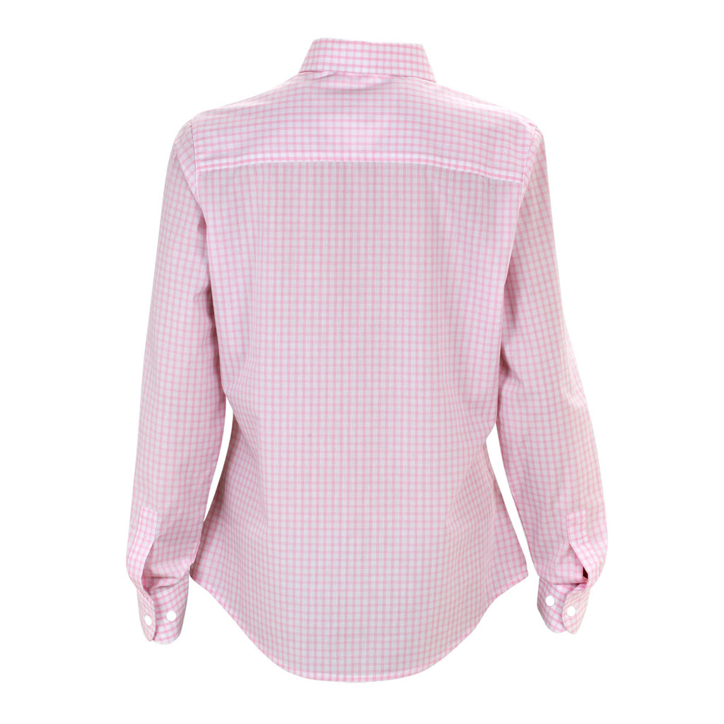 Vantage women 39 s pink white easy care gingham check shirt for Pink gingham shirt ladies