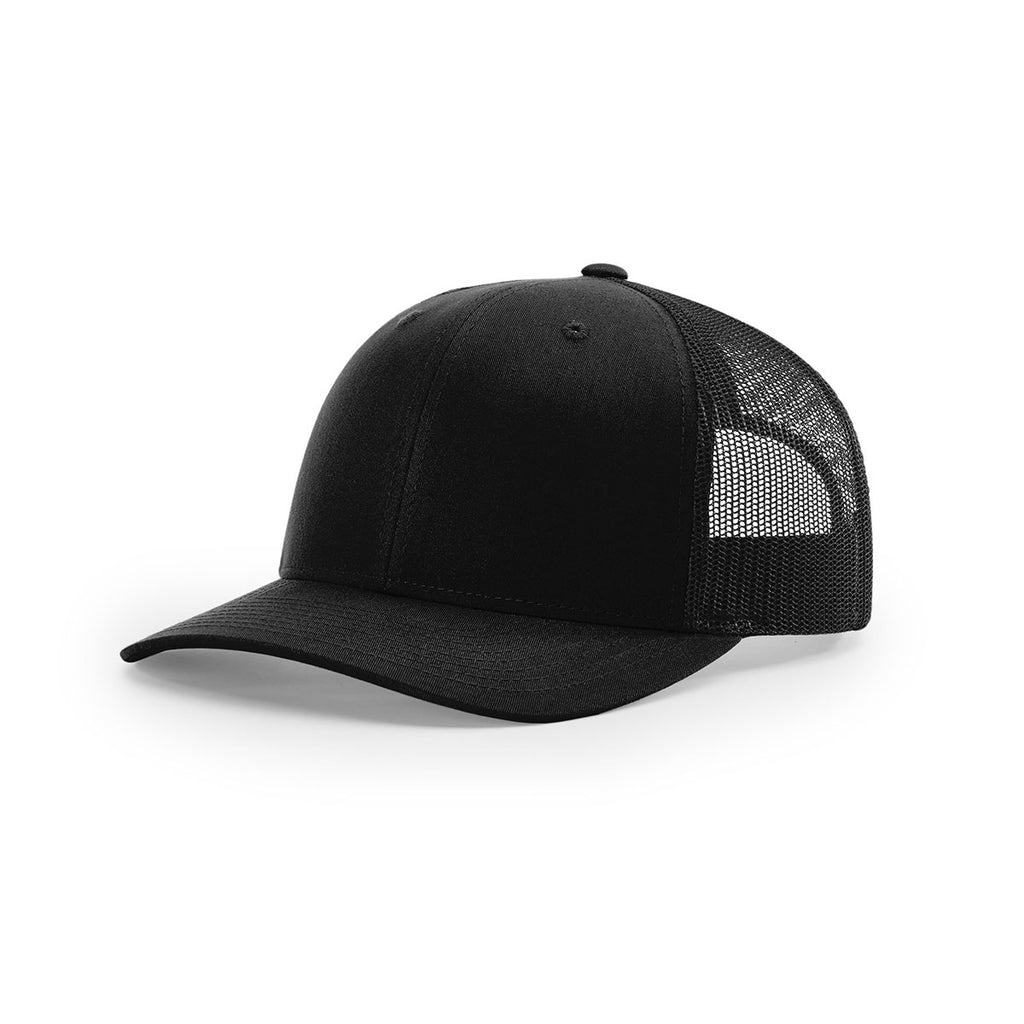 Richardson Black Mesh Back Solid Trucker Hat aea5afec8900