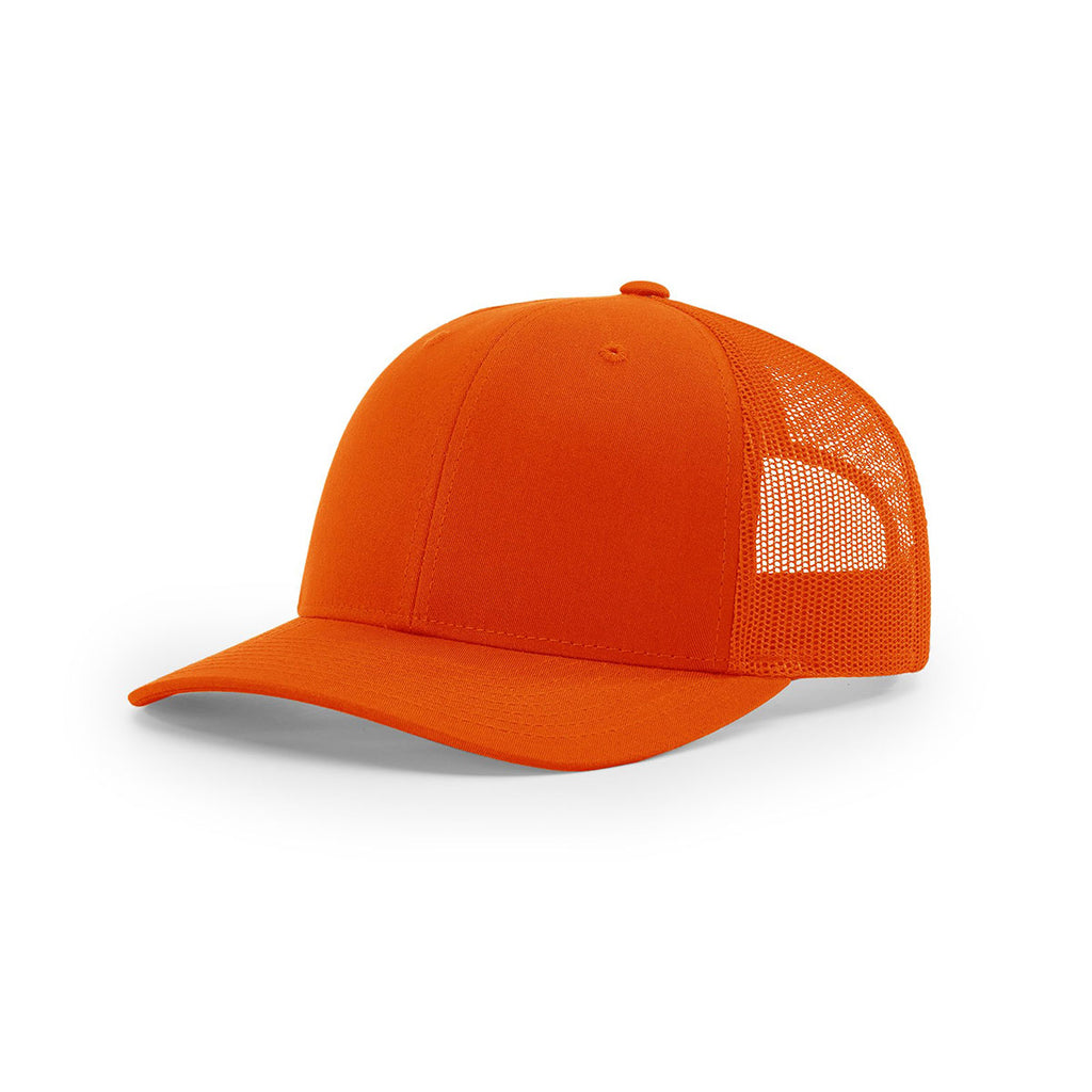 5e01fd9da4d5f Richardson Orange Mesh Back Solid Trucker Hat