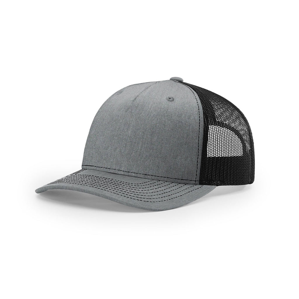 Richardson Heather Grey Black Mesh Back Five Panel Trucker Hat f592ad649742