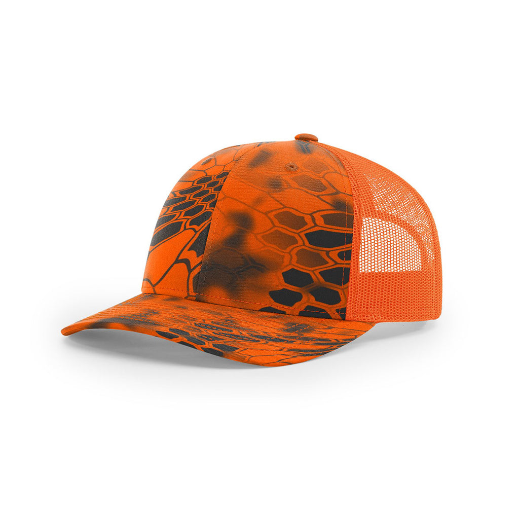 0bf33877b59 Richardson Inferno Blaze Orange Mesh Back Kryptek Camo Trucker Hat