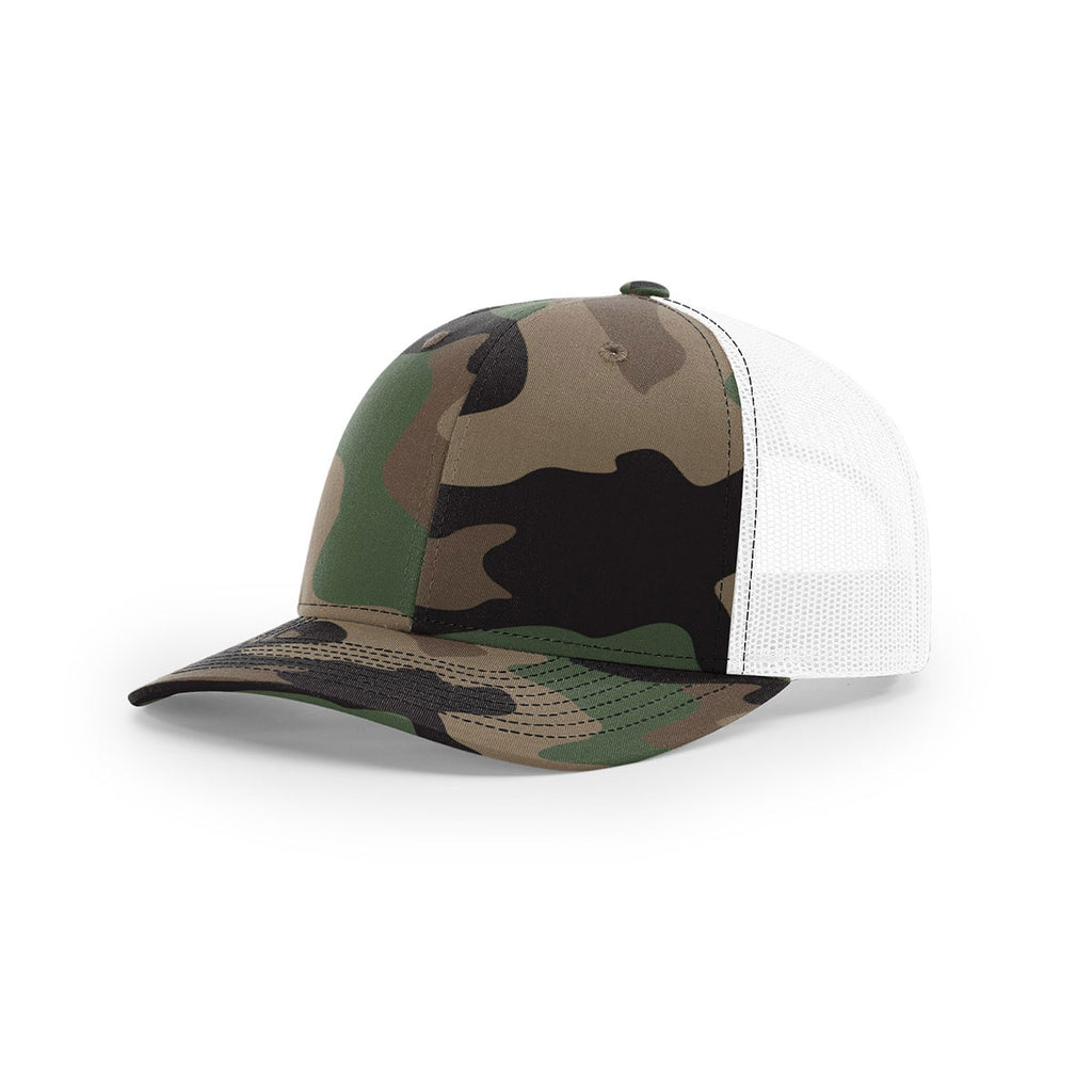 a4f5cd10f3a Richardson Green Camo White Mesh Back Military Camo Trucker Hat