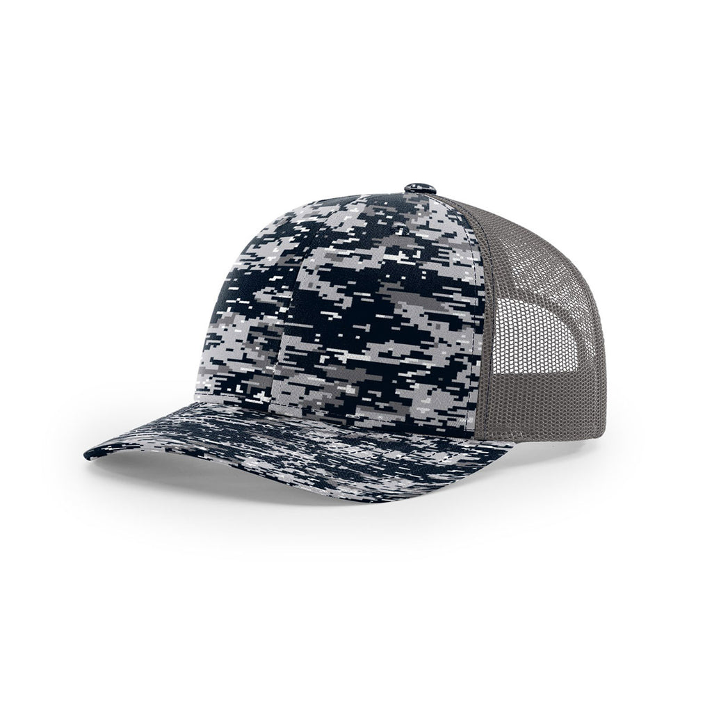 736a5a7c4 Richardson Navy Digital Camo/Charcoal Mesh Back Military Camo Trucker Hat