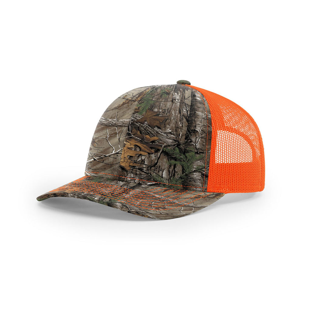 edf5ed5e9e303 Richardson Xtra Neon Orange Mesh Back Realtree Camo Trucker Hat