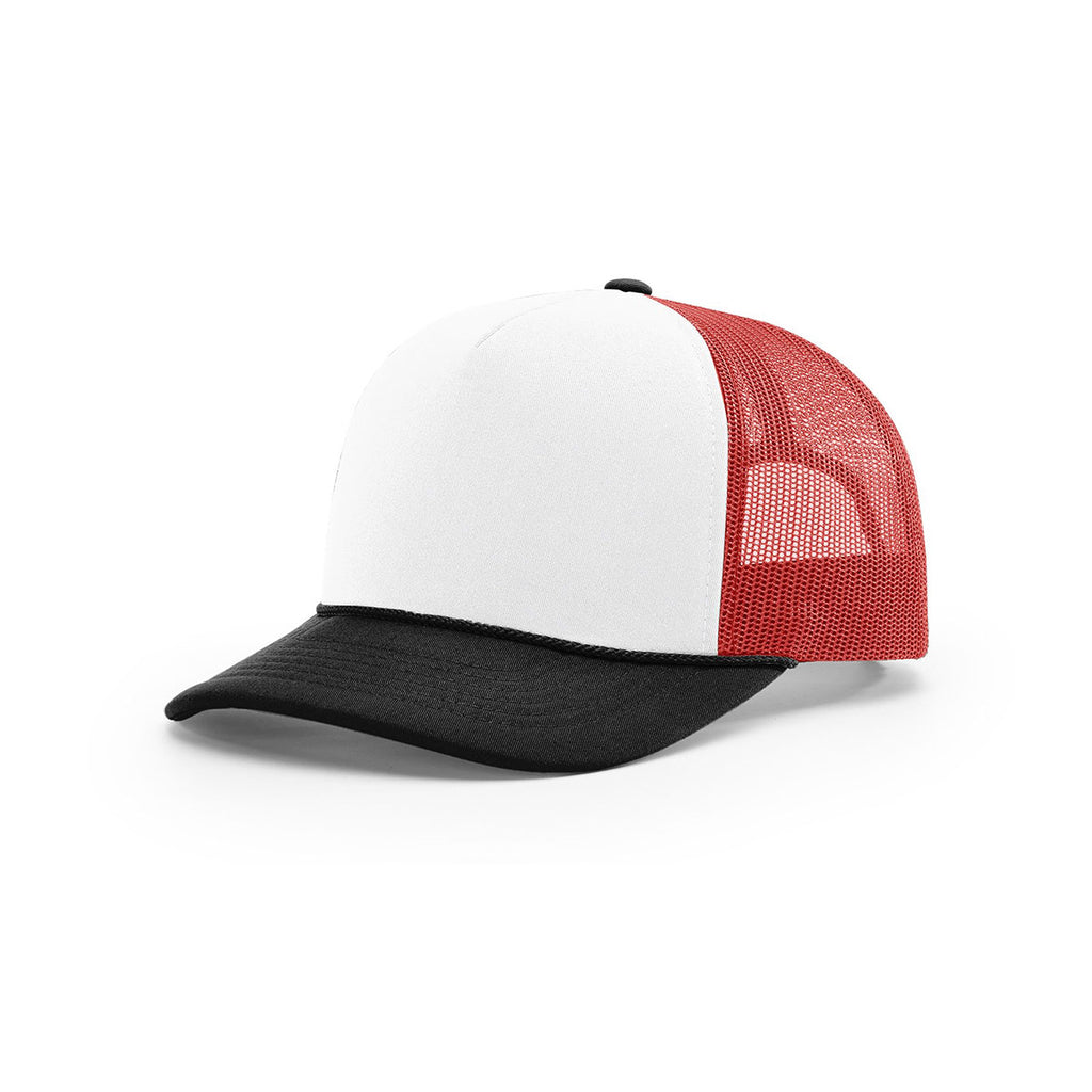 af54eecd82678d Richardson White Red Black Mesh Back Tri-Color Foamie Trucker Hat