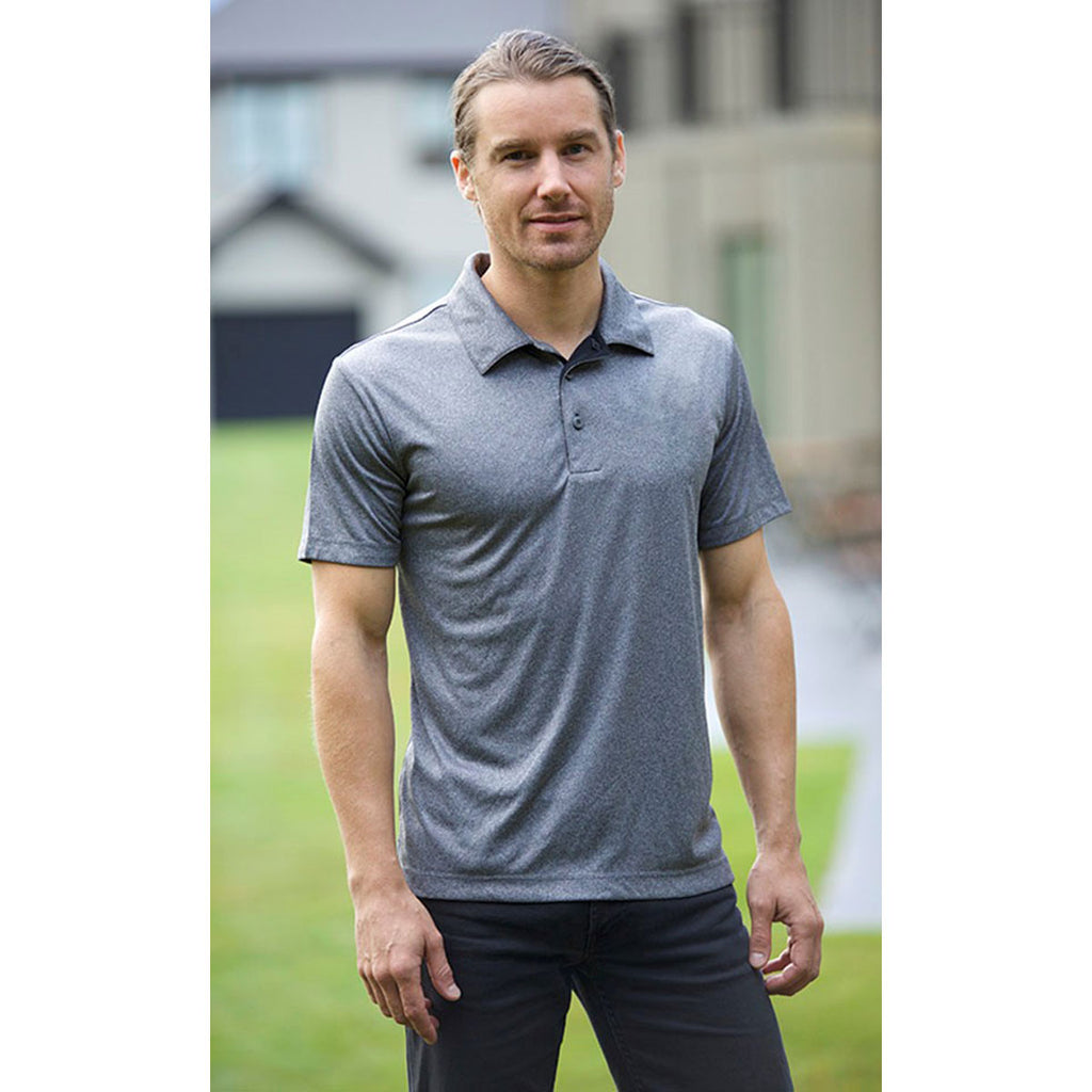 Landway Men's Dark Ash Vertex Heathered Knit Polo