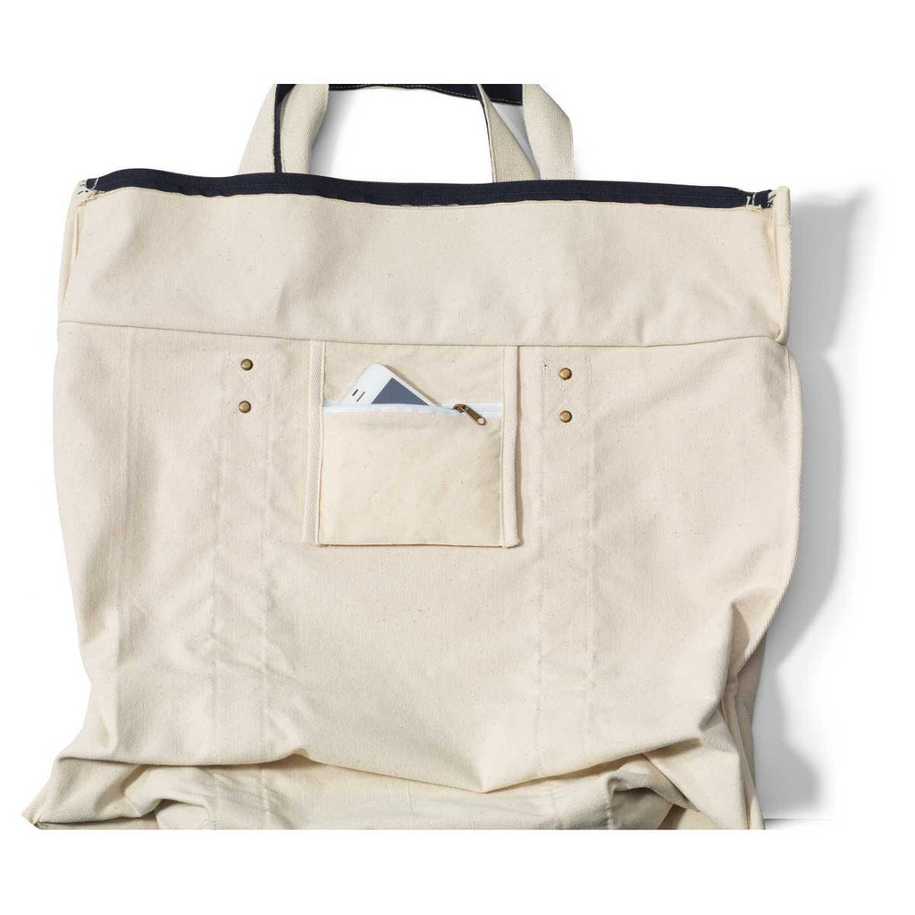 Gemline Navy Blue Seaside Zippered Cotton Tote
