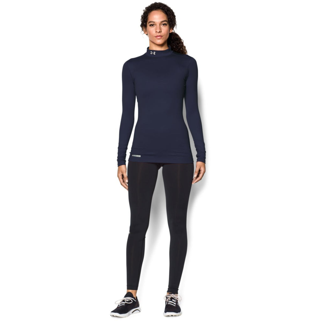 Under Armour Women's Navy ColdGear Fitted L/S Mock