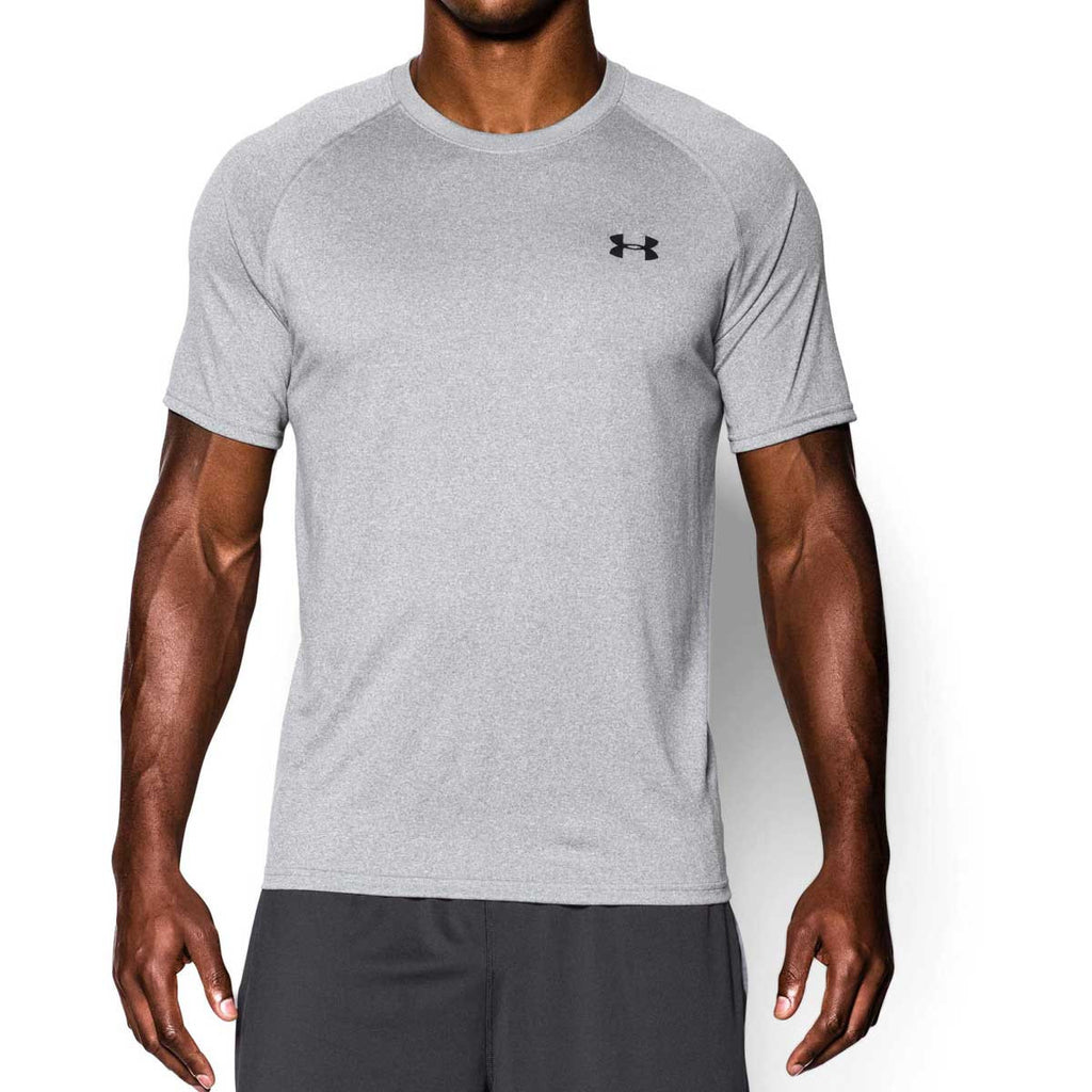 Under Armour Men s True Grey Heather Black Tech Short Sleeve T-Shirt 1ffccdb0e