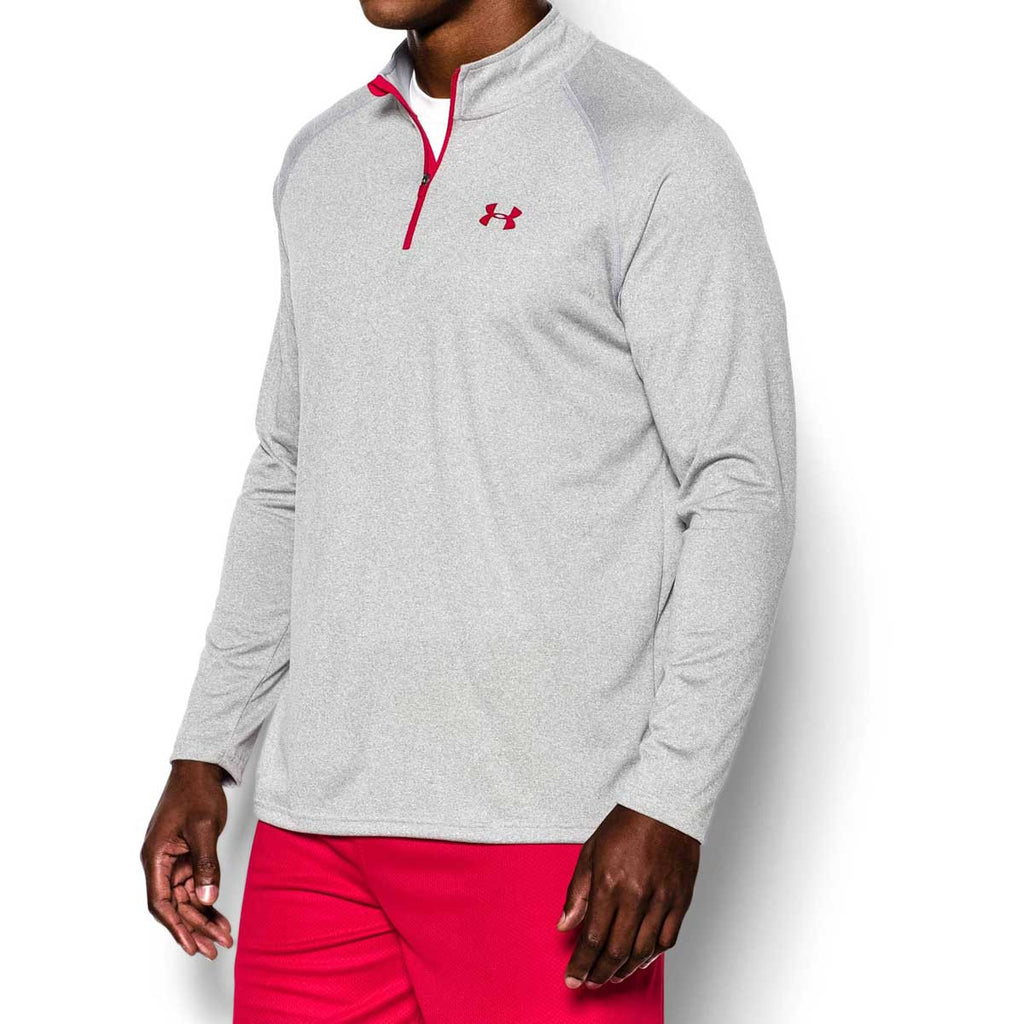 Under Armour Men's True Grey Heather/Red Tech Quarter Zip