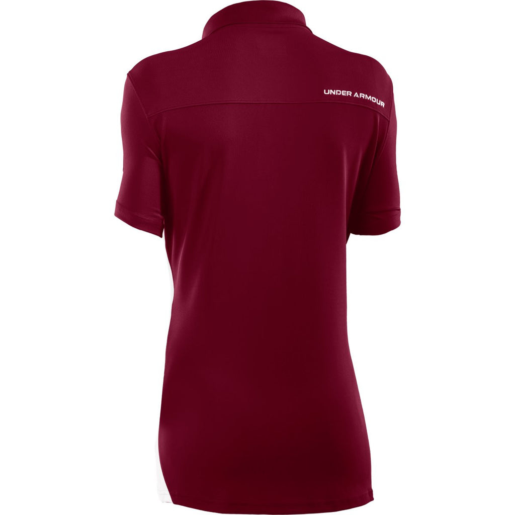 Under Armour Women's Maroon/White Colorblock Polo