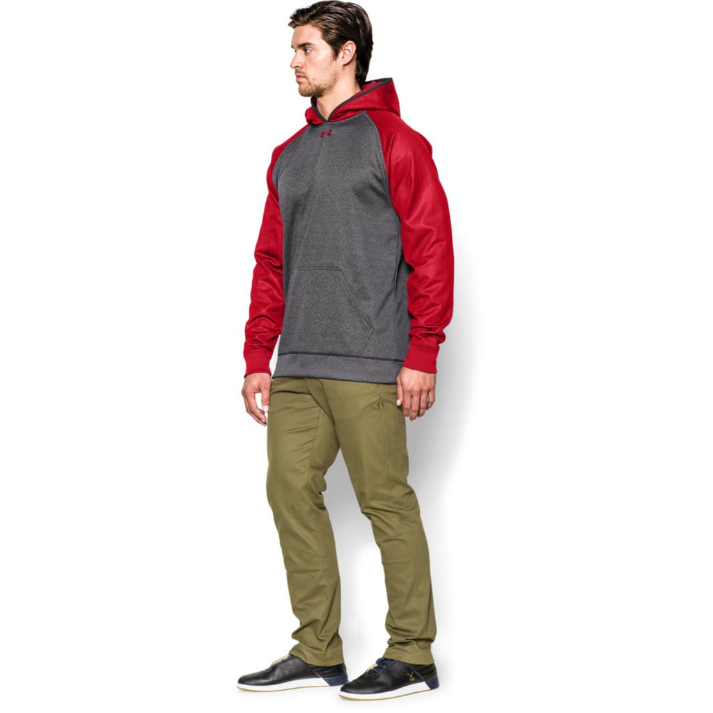Under Armour Men's Carbon Heather/Red Storm AF Colorblock Hoodie