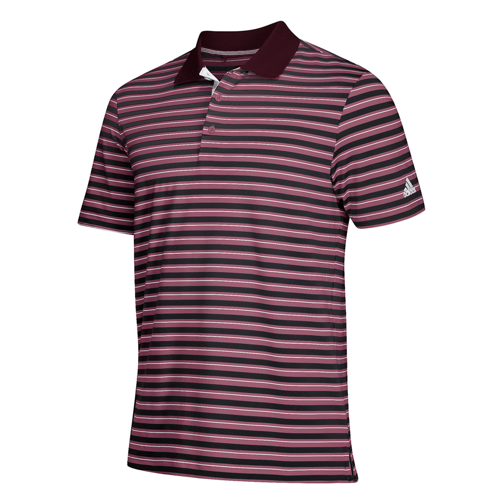 148078629 adidas Men's Maroon Ultimate 3 Stripe Polo