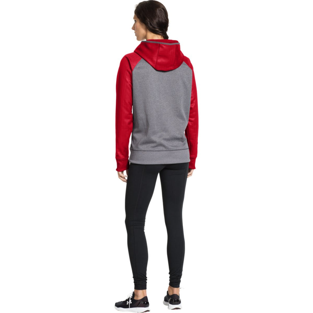 Under Armour Women's Carbon Heather/Red Storm AF Colorblock Hoodie