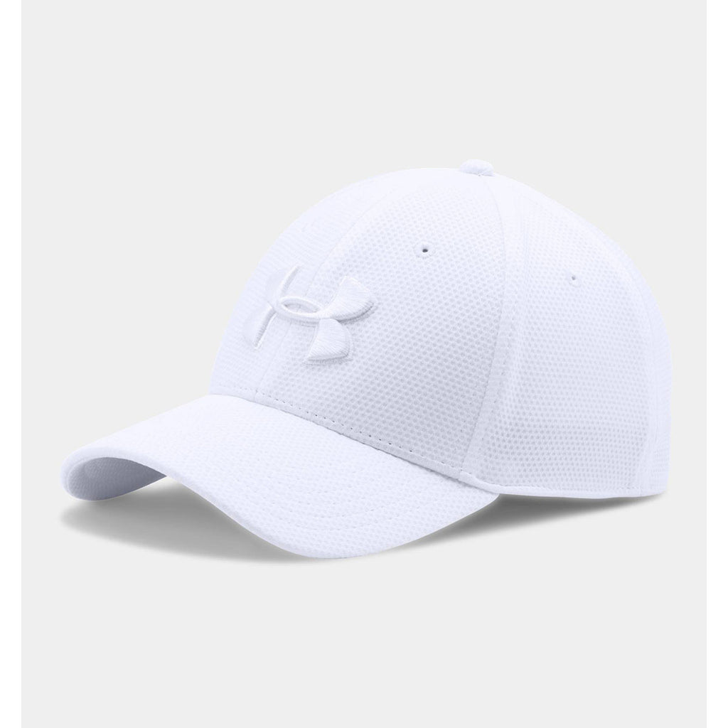 Under Armour Men s White Blitzing II Stretch Fit Cap. ADD YOUR LOGO 29b33881b2c