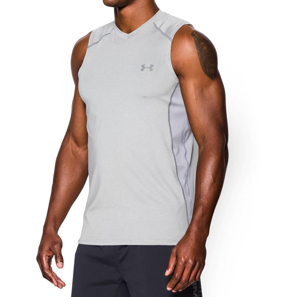 Under Armour Men's True Grey Heather UA Raid Sleeveless T-Shirts