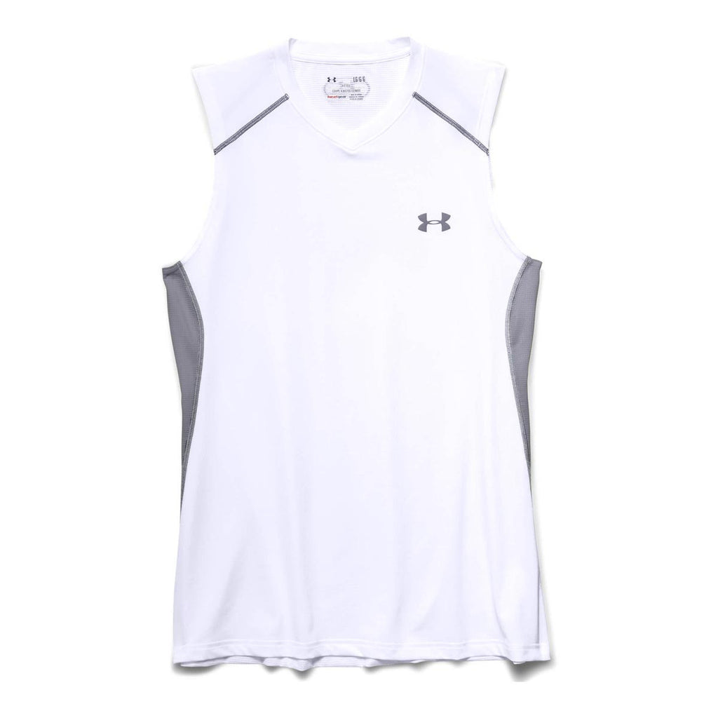 Under Armour Mens White Ua Raid Sleeveless T Shirts