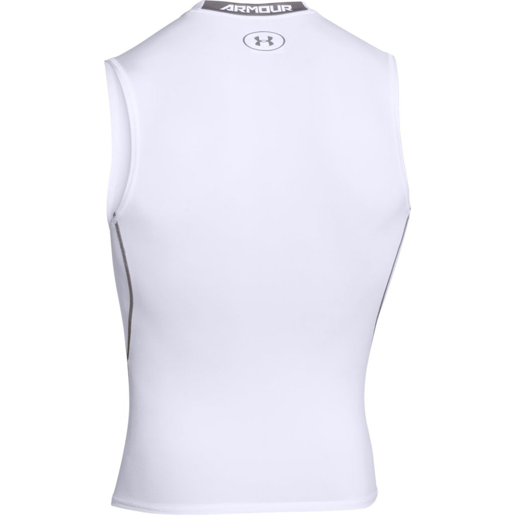 2073887dd1e0e Under Armour Men s White HeatGear Armour Sleeveless Compression Shirt
