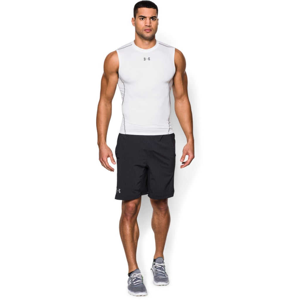 Under Armour Men's White HeatGear Armour Sleeveless Compression Shirt