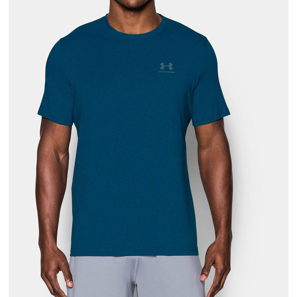 Under armour men 39 s teal ua charged cotton sportstyle t shirt for Teal under armour shirt