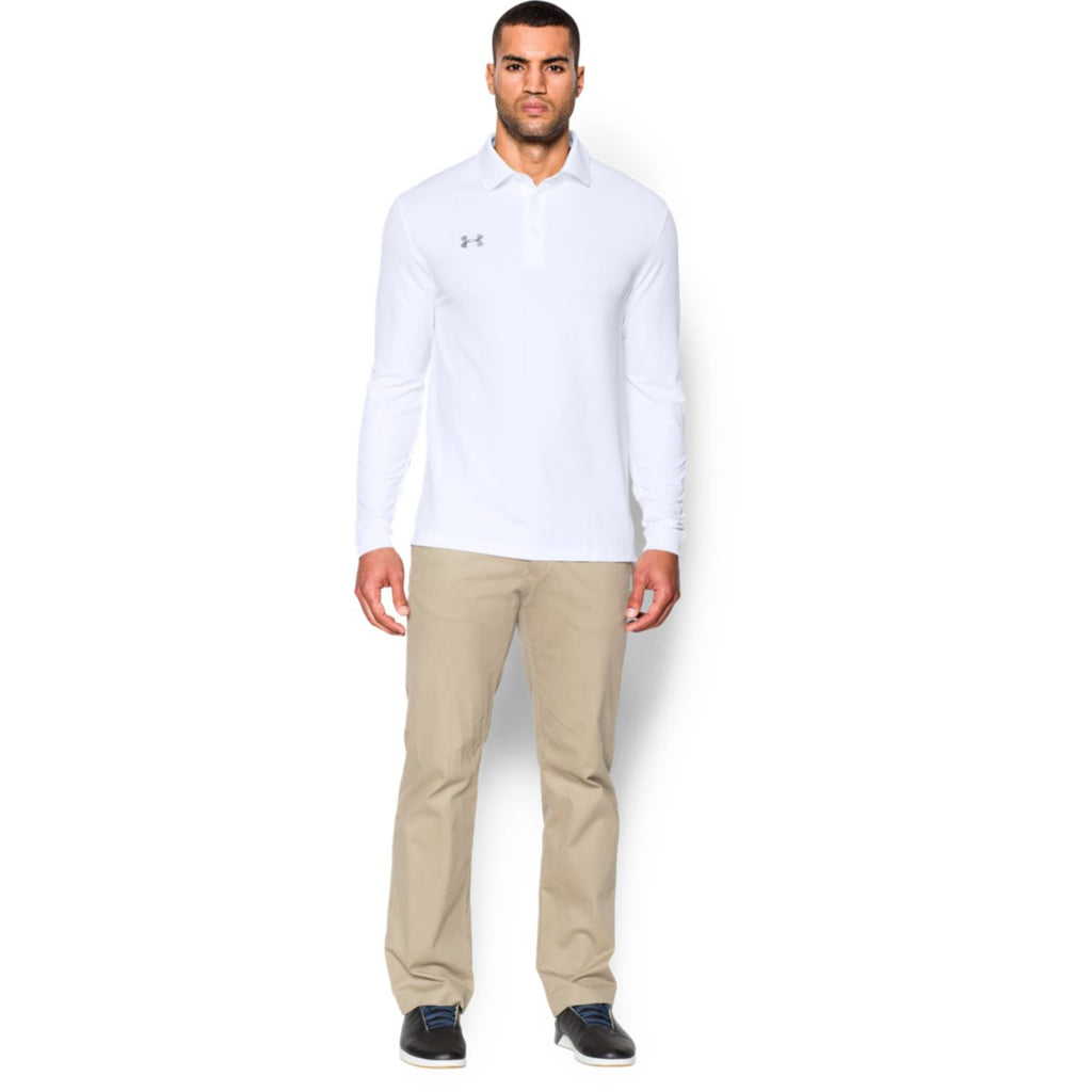 Under Armour Men's White Performance L/S Polo