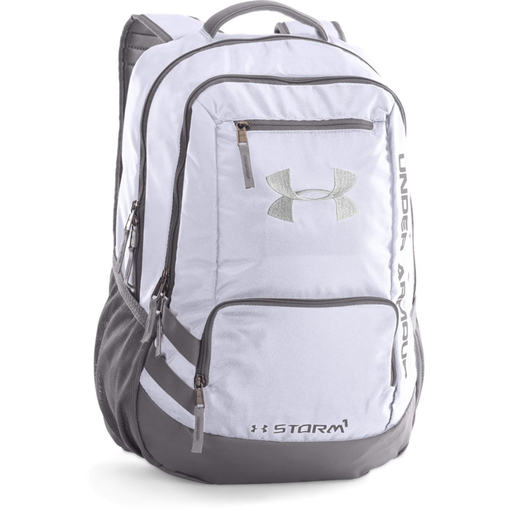 Under Armour White Black UA Hustle II Backpack. ADD YOUR LOGO e68cb8a98eeec