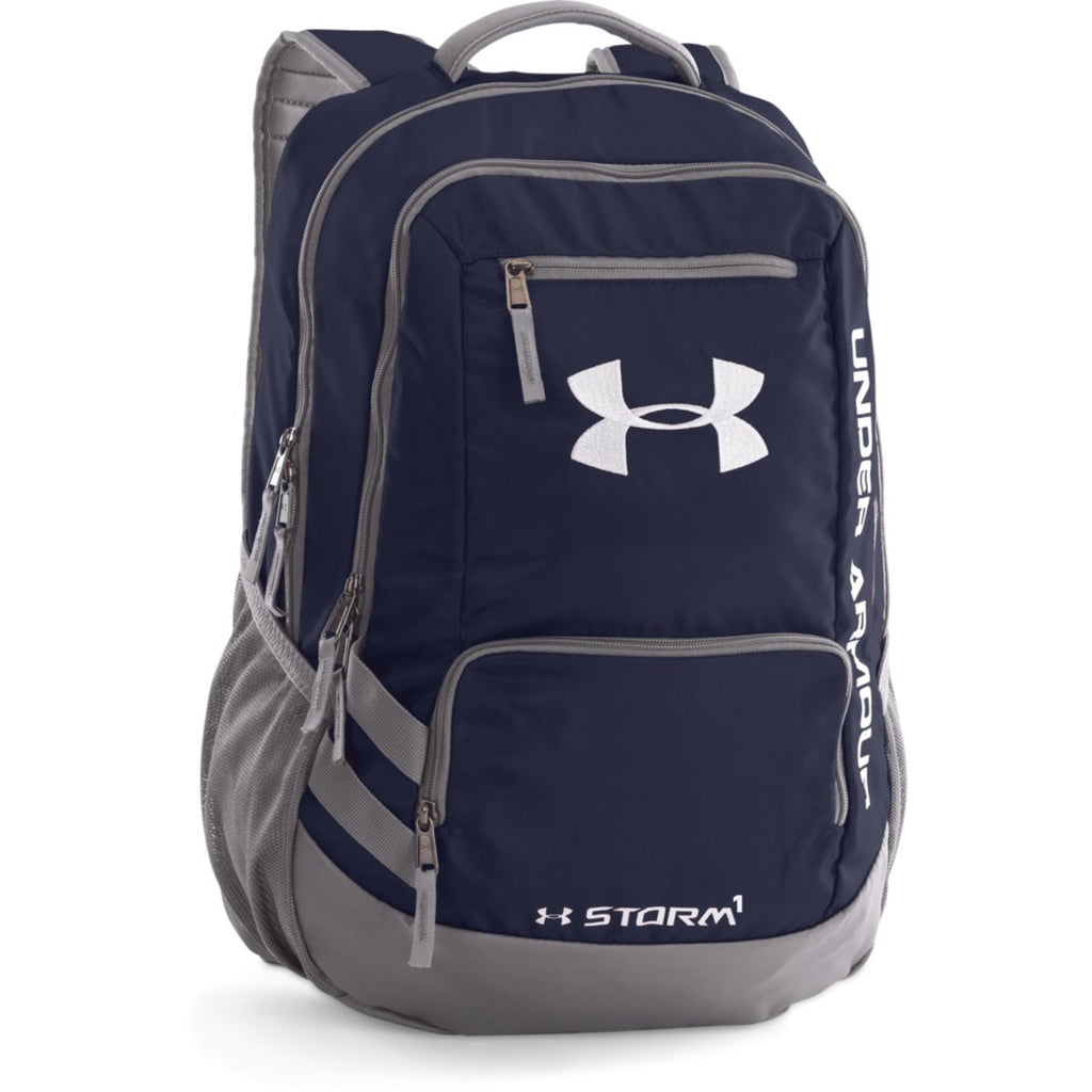 4900a36d55 Under Armour Midnight Navy Graphite UA Hustle II Backpack. ADD YOUR LOGO