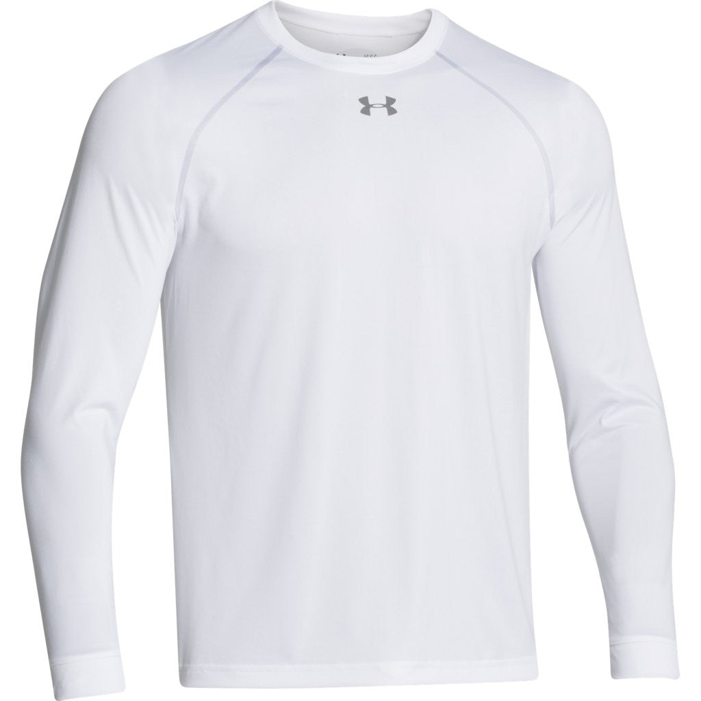 Under armour men 39 s white l s locker tee for Men s ua locker long sleeve t shirt