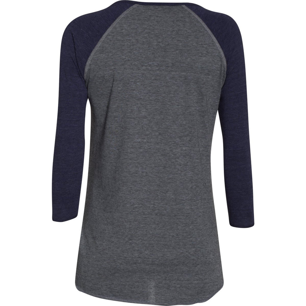 Under Armour Women's Midnight Navy/Steel/Midnight Navy Stadium 3/4 Sleeve T