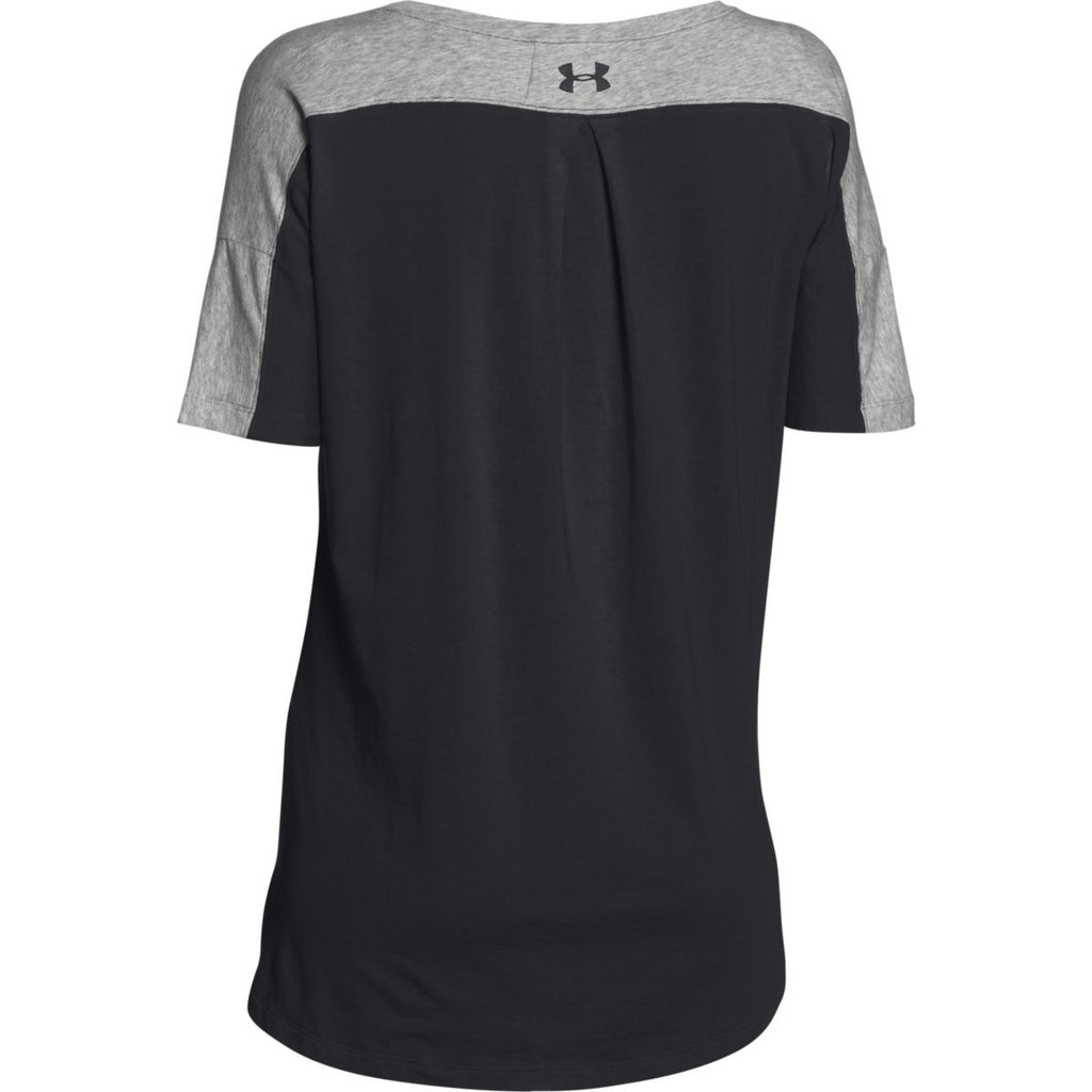 Under Armour Women's Black/True Grey Heather/Black Team Uptown Flow T