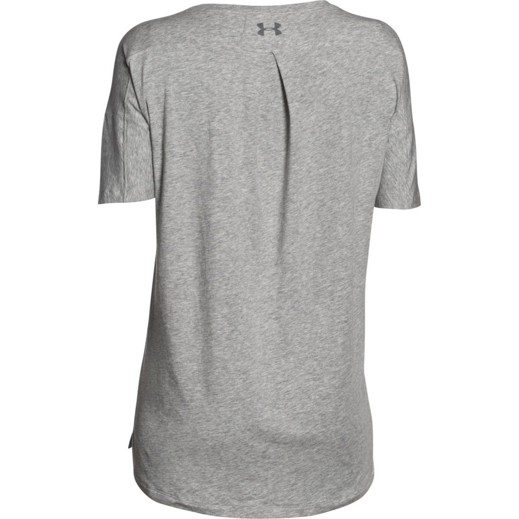 Under Armour Women's True Grey Heather/True Grey Heather/Graphite Team Uptown Flow T