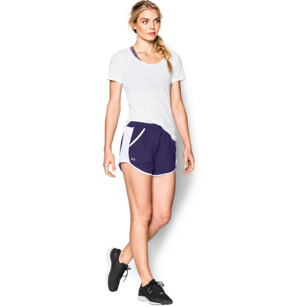 Under Armour Women's Purple/White/Reflective Fly By Short