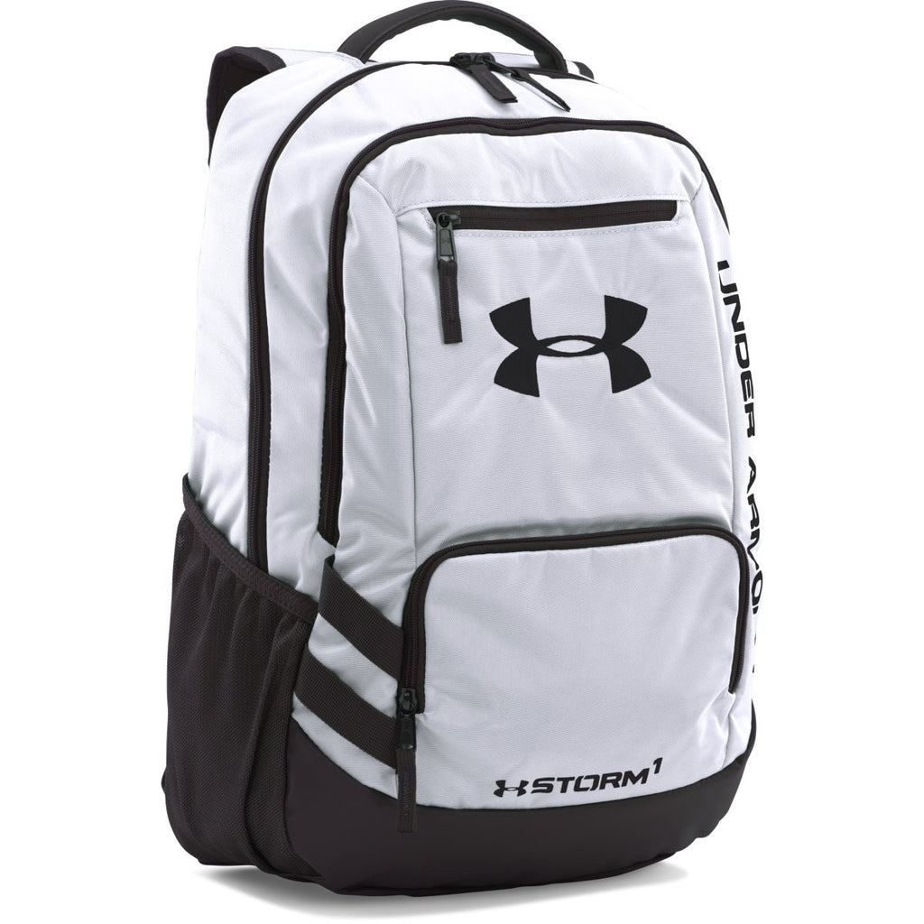 3d7c0b915347 Under Armour White UA Team Hustle Backpack. ADD YOUR LOGO