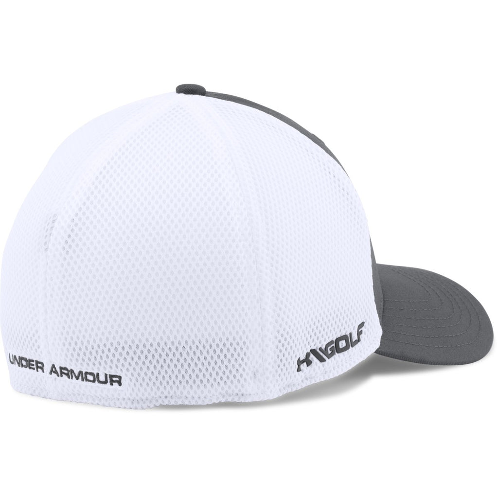 Under Armour Men s Graphite White UA Golf Mesh Stretch 2.0 Cap 358c195a9be