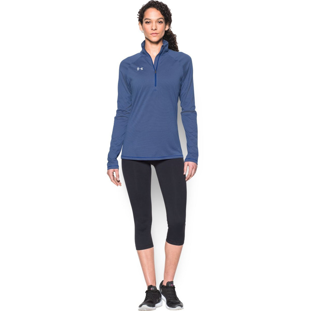 Under Armour Women's Royal Steel Stripe Tech 1/4 Zip