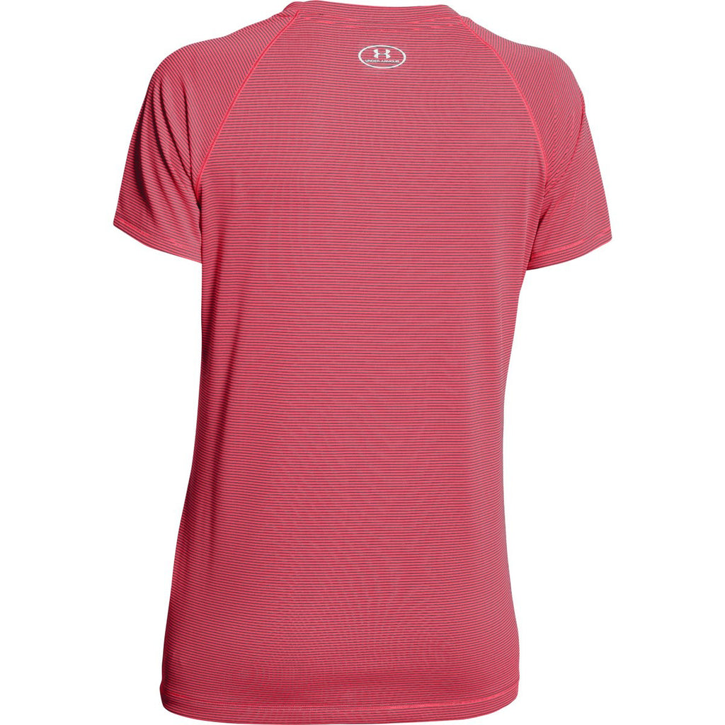 Under Armour Women's Phantom Grey / Pink Shock UA Stripe Tech Locker Short Sleeve Tee