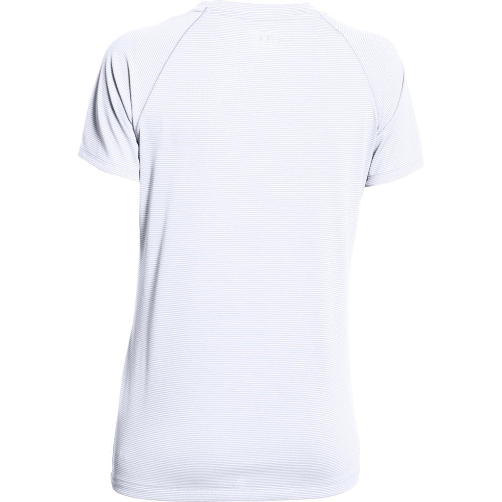 c00a50bf Under Armour Women's White UA Stripe Tech Locker Short Sleeve Tee