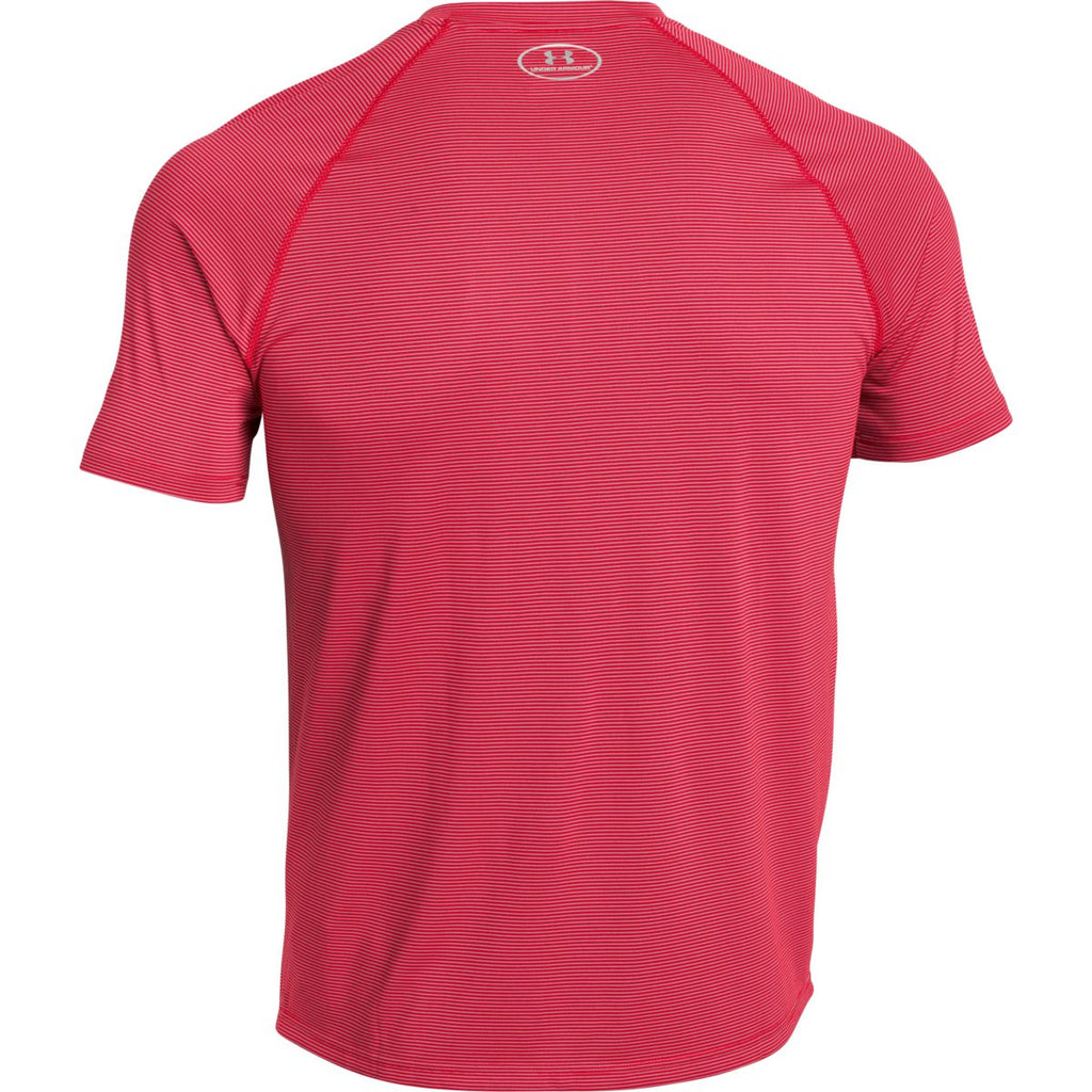 Under Armour Men's Red UA Stripe Tech Locker Short Sleeve Tee