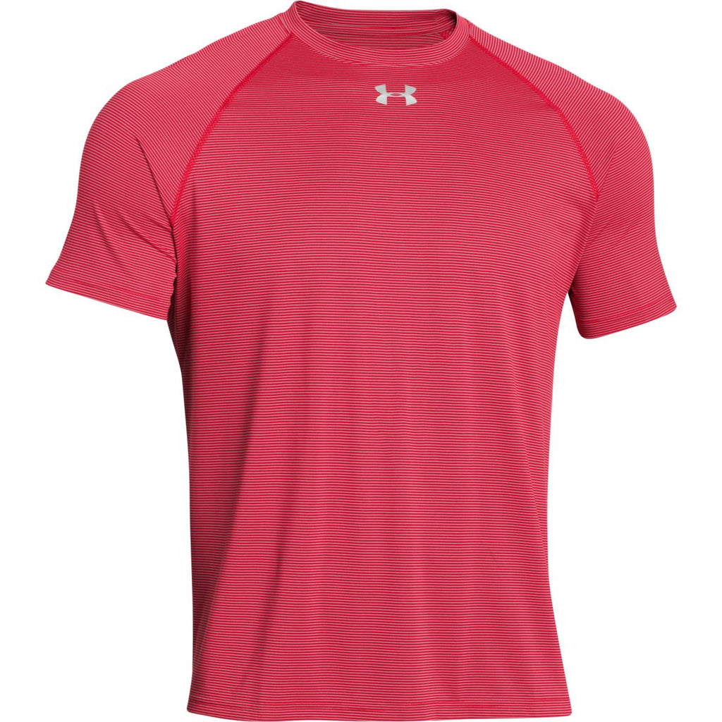 Under armour men 39 s red ua stripe tech locker short sleeve tee for Personalized under armour shirts