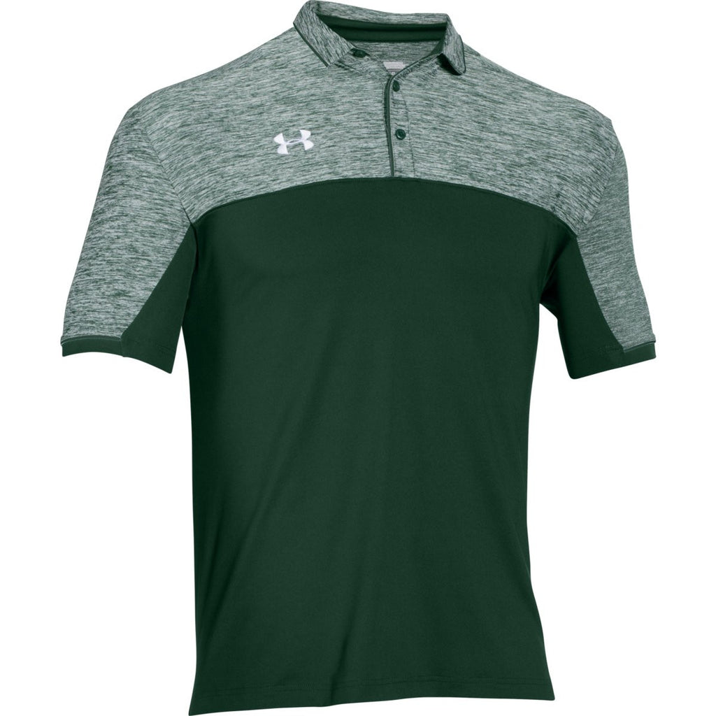 Under armour men 39 s forest green ua team podium polo for Forest green polo shirts