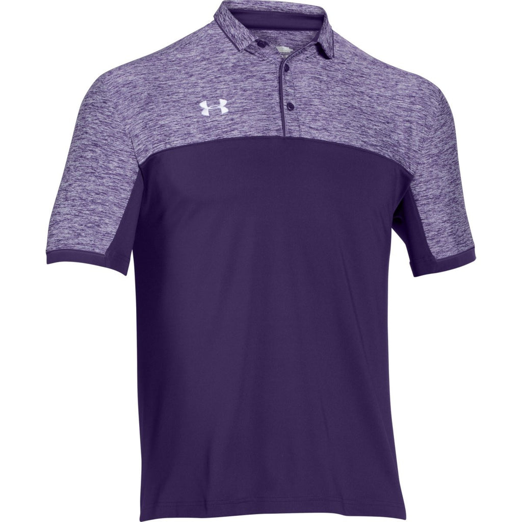 Under armour men 39 s purple ua team podium polo for Under armor business shirts
