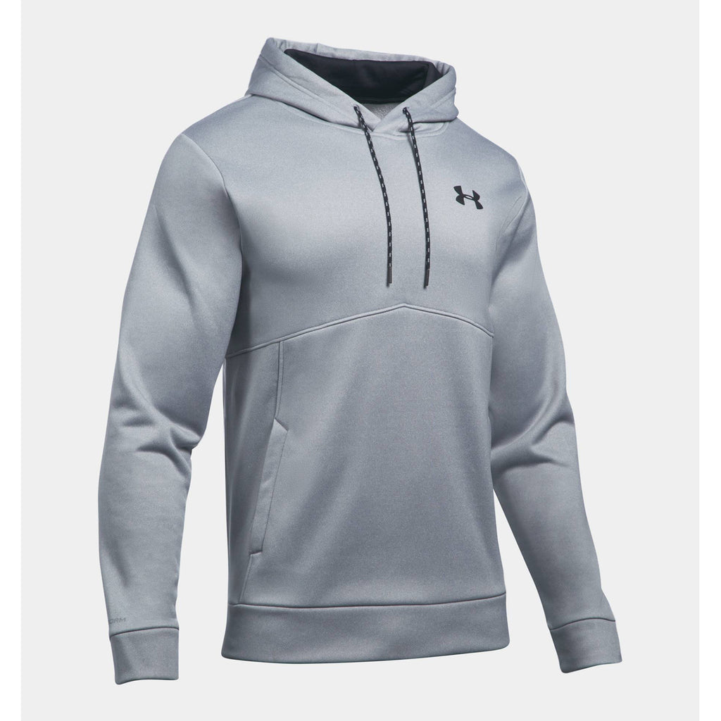 d5c5e222462a Under Armour Men s True Grey Heather Black Armour Fleece Icon Solid Pullover  Hood. ADD YOUR LOGO