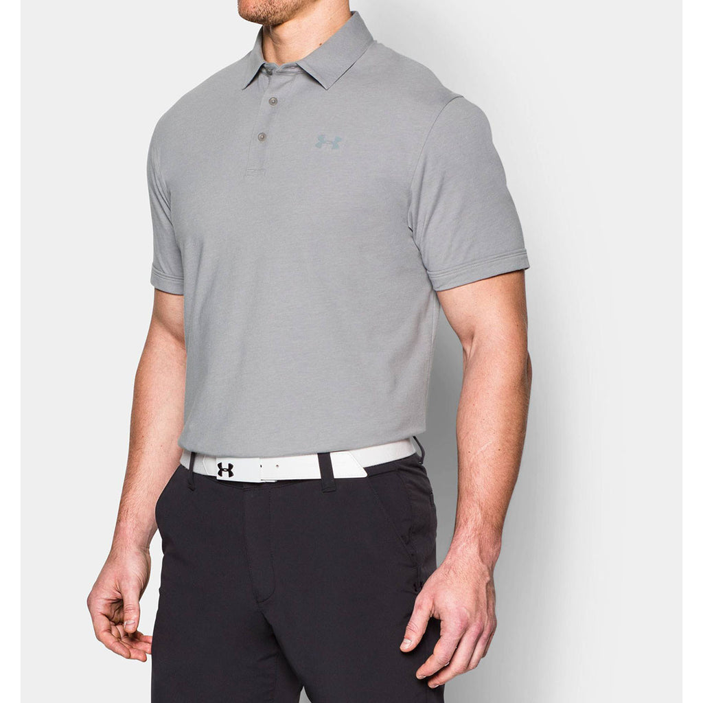 Under armour men 39 s grey charged cotton scramble polo for Under armour embroidered polo shirts