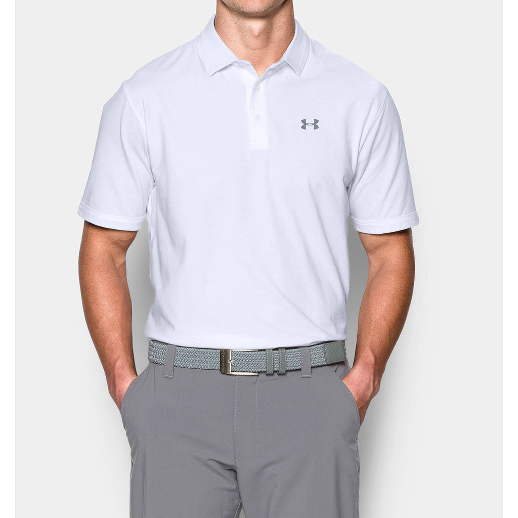 Under Armour Men's White Charged Cotton Scramble Polo