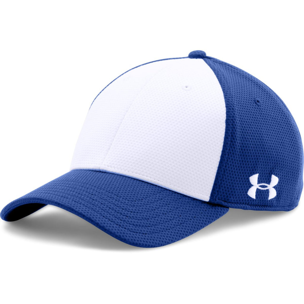 Under Armour Royal White Color Blocked Blitzing Cap. ADD YOUR LOGO 55c3f016db17