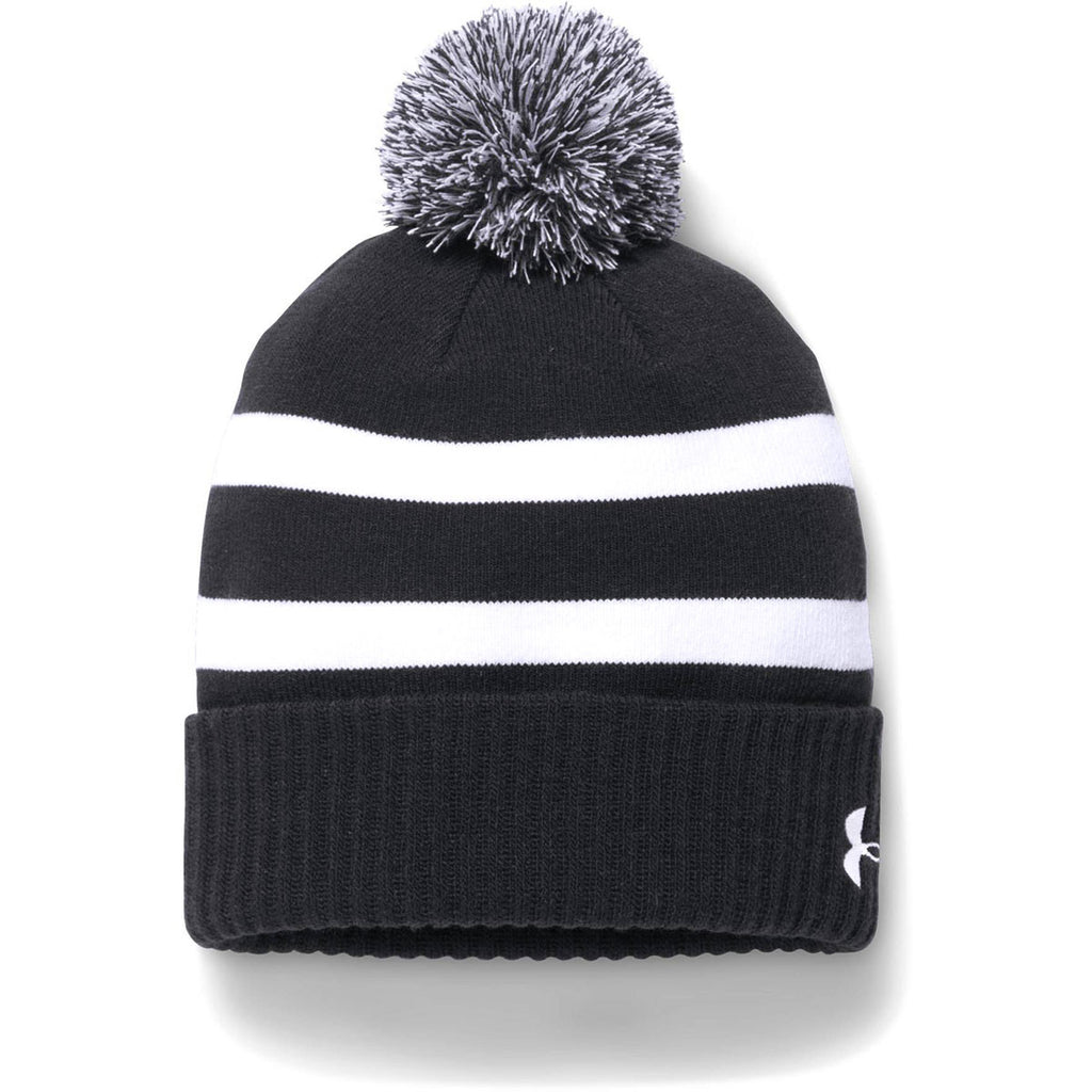 04303da93ae Under Armour Men s Black Pom Beanie