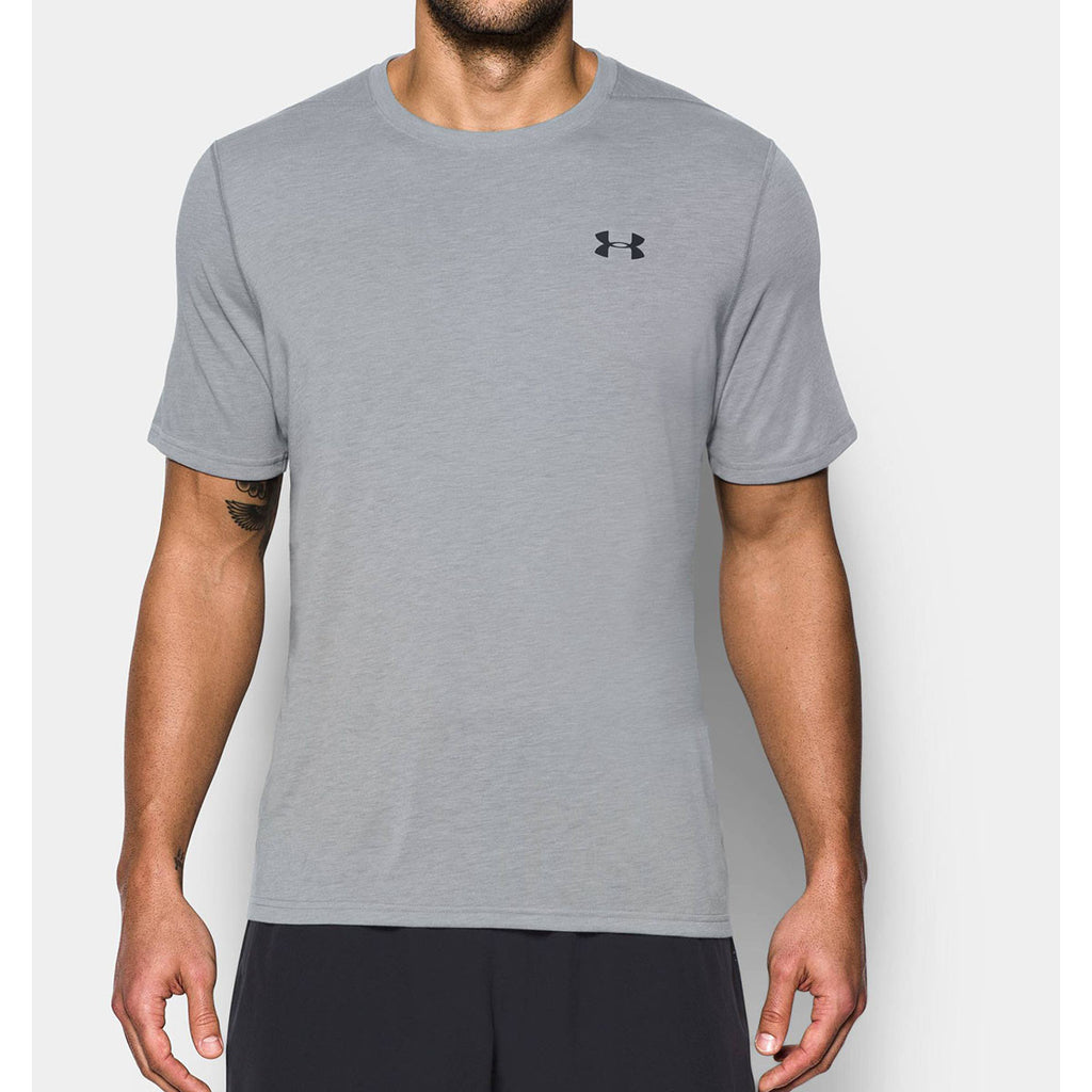 Under armour men 39 s light grey ua threadborne short sleeve for Under armor business shirts