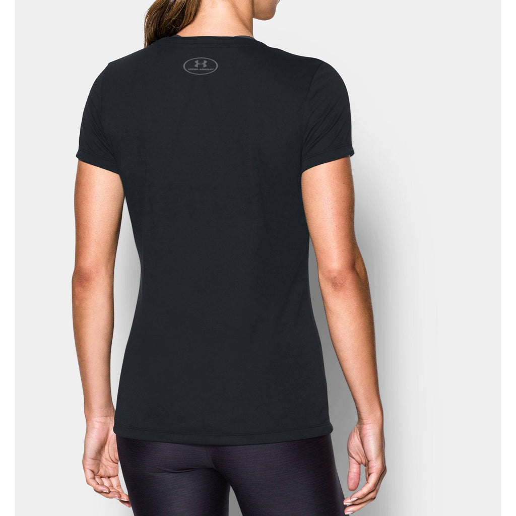 Under Armour Women's Black Threadborne Train V-Neck T-Shirt