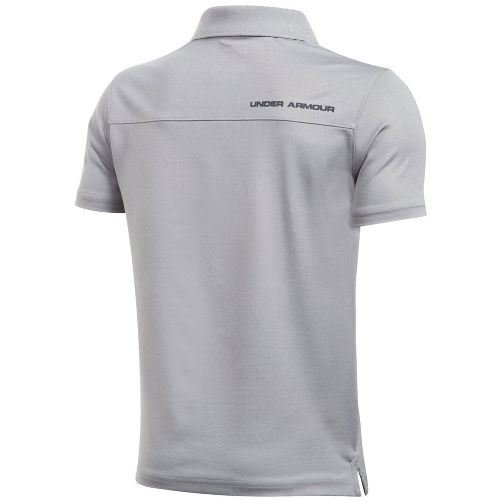 Under Armour Youth True Grey Heather/Carbon Heather Performance Polo