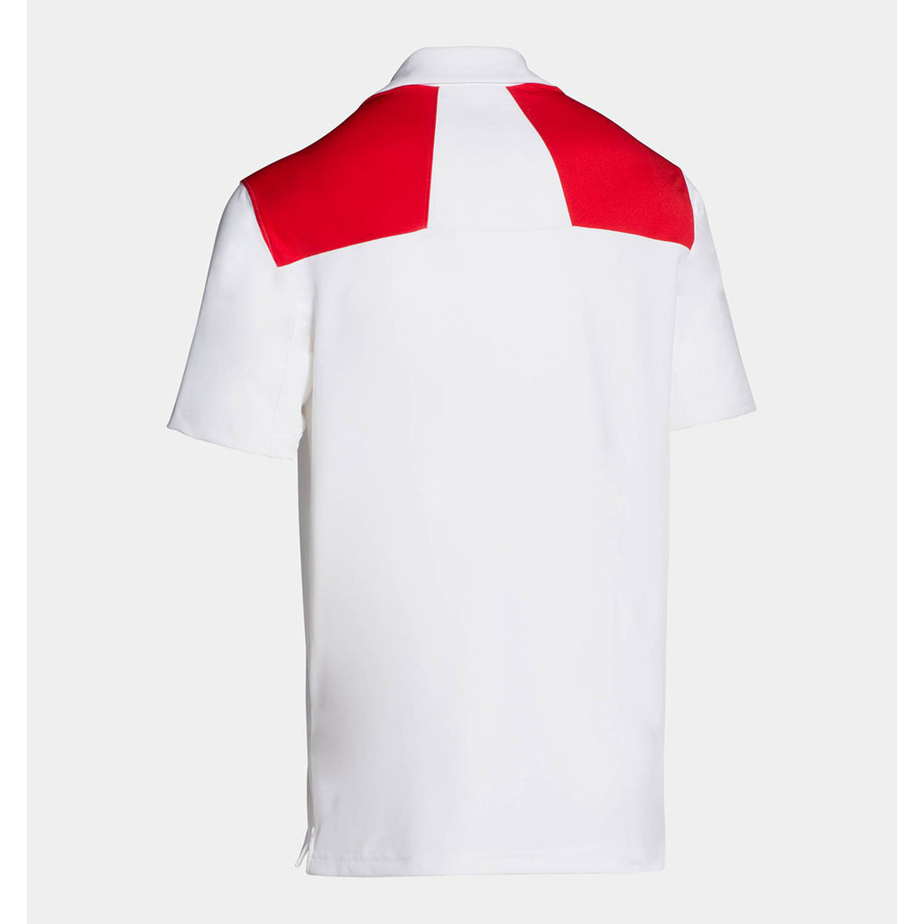 Under Armour Men's White/Red Armour Colorblock Polo